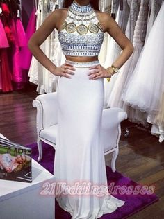 Two Pieces Long Prom Dresses,White Evening Dresses http://21weddingdresses.storenvy.com/products/15678189-two-pieces-long-prom-dresses-white-evening-dresses