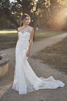 """Gorgeous Embellished One Shoulder Sweetheart Mermaid Wedding Dress / Bridal Gown with Half Open Back and a Train. Bridal Collection 2020 """"Lumière"""" by Anna Campbell Navy Bridesmaid Dresses, Long Wedding Dresses, Bridal Dresses, Asos Bridesmaid, Long Dresses, Dress Long, Bridesmaids, Modest Wedding, Anna Campbell Dress"""