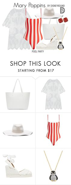 """""""Mary Poppins"""" by leslieakay ❤ liked on Polyvore featuring Mansur Gavriel, Maison Michel, Solid & Striped, Castañer, Effy Jewelry, Kate Spade, disney, disneybound and disneycharacter"""