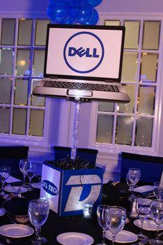 Technology Themed Centerpiece Technology Themed Bar Mitzvah Centerpiece with Blowup Computer & Logos