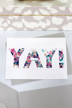 Congratulate a friend with this colorful confetti shaker greeting card. It comes with a co-ordinating, natural finish envelope.