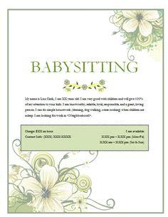 Cute kids babysitter flyer | Babysitting Flyer Template ...