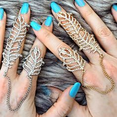 Holy bling batman!!! Shop our Crystal Leaf Full Finger Linked Knuckle Rings at Jewel Cult. Available in gold and silver.
