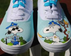 New Design Custom Hand Painted Mens Vans shoe Charlie Brown and Snoopy size note these are just a sample they are sold If you would like a custom pair of Vans or other sneakers just email me and we can start working on your design Custom Vans Shoes, Mens Vans Shoes, Vans Sneakers, Converse, Painted Sneakers, Hand Painted Shoes, Vans Girls, Girls Shoes, Surf Girls