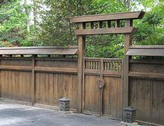 contemporary rustic japanese gate and wall design idea