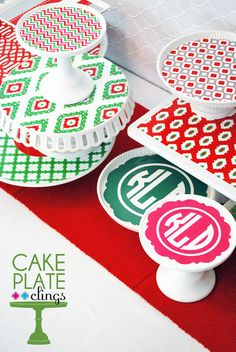 """One of the best ideas I have seen!  Reusable """"Cake Plate Clings""""  cake plate clings by wh hostess - christmas vertical angle"""