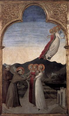 SASSETTA Marriage of St Francis to Lady Poverty 1437-44 Panel, 88 x 52 cm Musée Condé, Chantilly