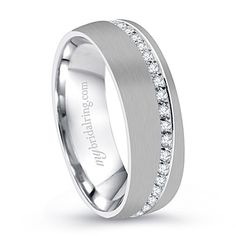 Comfort Fit Men's wedding bands with unexpected accents - http://www.mybridalring.com/Mens/brush-finish-mens-diamond-accent-wedding-band/
