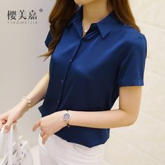 Sakura Mika summer new heavy silk elastic satin short-sleeved shirt female silk…