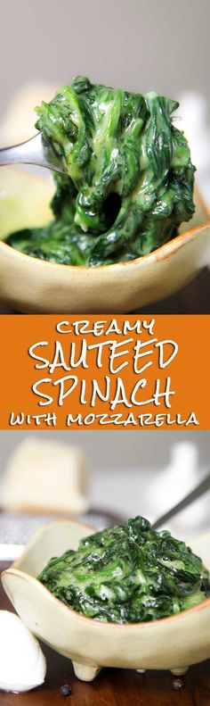 SAUTEED SPINACH AND MOZZARELLA RECIPE - Sauteed spinach combined with fresh mozzarella are perfect paired with eggs and meats. A creamy and consistent vegetarian side ready in a few minutes! - healthy vegetarian Italian recipe