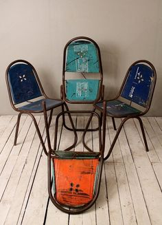 Industrial Upcycled Vintage Metal Can Chairs by HammerAndHandImports via Etsy