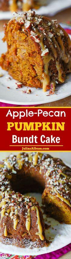 Holiday Apple-Pecan Pumpkin Bundt Cake. Perfect #Thanksgiving or #Fall dessert!