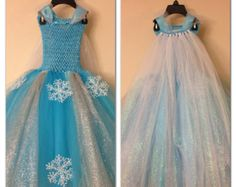 Elsa dress with cape inspired from frozen movie - elsa costume - size nb to 9 years