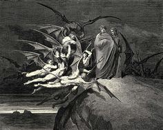 When Dante and Virgil meet the troublesome Malebranche in the 5th ditch of the 8th circle of hell, as they look for passage to the next ditch. Engraving by Gustave Doré.
