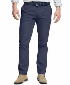 Tommy Hilfiger NEW Navy Blue Mens Size 34X32 Khakis Chinos Pants $59 #014