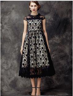 Vintage Inspired Lace Midi Formal Dress