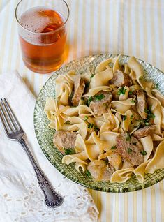Pink Parsley: Brats with Beer & Mustard Sauce over Egg Noodles