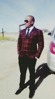 The Social scientist from the orange river farms have some glitz and glam in him  Blazer: Mosconi Milano Black Tie and White Shirt Markham  black pants and shoes MARKHAM
