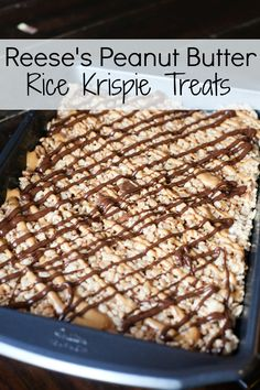Reese's Peanut Butter Rice Krispie Treats. Perfect treat or dessert. Fast and EASY to make. And everybody LOVES them (except people allergic to peanut butter ;) ).