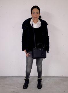 OOTD: Mango denim- Etro shirt- Zadig & Voltaire cashmere knit- Zara coat- Ugg boots- YSL bag