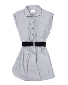 Love the capped sleeves on this pinstripe shirtdress.