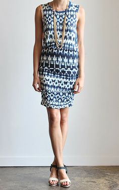 Velvet Brianna Ikat Print Shirred Dress Front