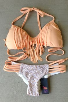Nude Peach And Sand Snake Fringe bikini set by BeachBabeSwimwear, $95.00