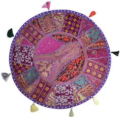"""Purple 22"""" Big Round Floor Pillow Cushion round seating Bohemian Patchwork floor cushion pouf Vintage Indian Foot Stool Bean Bag tapestry"""