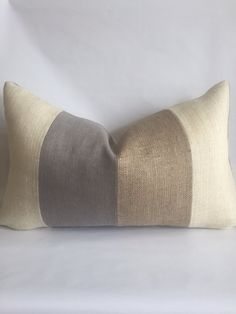 Cream Light Gray and Natural Striped Lumbar by BouteilleChic