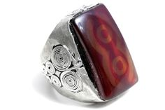 New to Tezsahcom on Etsy: Agate Tribal Silver Ring Vintage Gemstone Jewelry Rings (149.00 EUR)