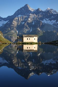 Amazing reflection On Schwarzsee Lake Switzlerland