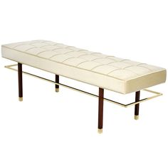 Harvey Probber bench, USA - 1960's.  Mahogany legs with brass cap feet and brass stretchers.