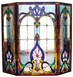stained glass fireplace screens | Tiffany Stained Glass Fireplace Screen