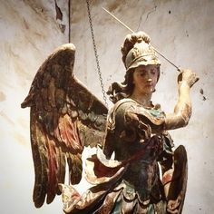 @kclrparisMission San Miguel's treasure, this life-sized 17th-18th century Spanish polychrome wood statue of the archangel vanquishing the devil. The Michaelmas occurs each September 29th.  The autumn winds blow open the gate, Saint Michael for you we wait