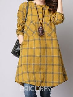 Plaid Single-Breasted A-Line Casual Dress