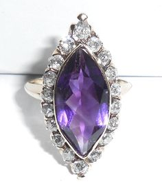 "Antique Victorian 14K Yellow Gold 4.74 CTS Amethyst Rose Cut Diamond 1"" Long Navette Ring"
