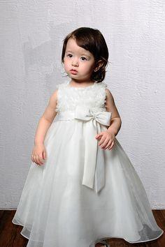 Empire waist sleeveless organza charming flower girl dress
