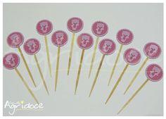 Toppers de ursinha rosa para decorar docinhos de festa. <br>Tamanho da arte: 3cm. <br> <br>Consulte-nos para outras cores e temas.