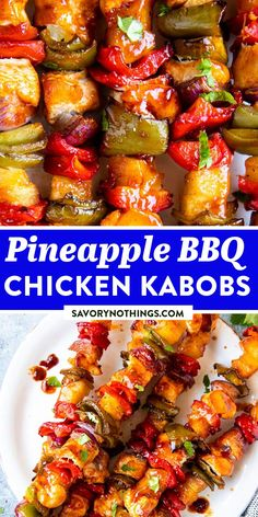 These Pineapple BBQ Chicken Kabobs are as easy as summer is meant to be: Simply flavor the chicken and vegetables with your favorite BBQ sauce and pineapple juice, then throw on the grill. Great for backyard cookouts and summer grilling! | #grilling #grillingrecipe #kabobs #chickenrecipes #chickenfoodrecipes #chickendinner #easydinnerideas #easydinnerrecipes #easydinner #dinnerrecipes #dinnerideas Quick Weeknight Dinners, Easy Family Dinners, Quick Easy Meals, Chicken Kabobs, Bbq Chicken, Chicken Recipes, Grilling Recipes, Slow Cooker Recipes, Crispy Baked Chicken
