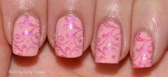 China Glaze Pink Of Me with stamping