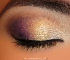 purple gold and white metallic, shimmery make up - nice evening look for making brown eyes pop. This is my favorite look. I've done it many atime.