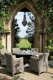 Neptune Beaucourt 130 Valence Set 6 Seater Garden Furniture Set - stone table