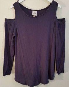 Knox Rose Long Sleeve Cold Shoulder 1X Shirt Purple 100% Rayon Fringe Hem Neck #KnoxRose #Blouse