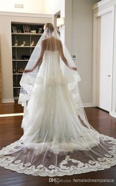 Wholesale Wedding Veils - Buy 14 New Arrival Two Tier Ivory White Sweetheart Cathedral Lace Purfle Bridal Wedding Veil Custom Fast Shipping High Quality Tulle Free Comb, $37.7 | DHgate