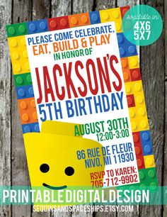 Lego Birthday Invitation, FREE Favor Tags, Lego Birthday, Lego Invitation - DIY, Printable, Boys Birthday, Party Ideas, Lego Party