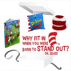 Dr Seuss Gift Box - White Gift Box with Dr Seuss Wall Decal, Pillow, Beanie and Book. Baby Gift Sets, Baby Gifts, Dr Seuss Wall Decals, Cat Hat, White Gift Boxes, Box Packaging, Nursery Decor, Kids Room, Beanie