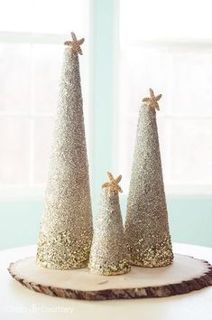 Christmas Craft: DIY Coastal Glitter Christmas Trees