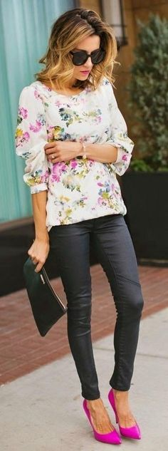 #spring #neon #trend #outfitideas   Neon Pink Pumps + Floral + Black