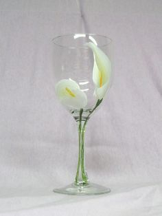 flower painted glass