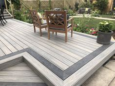 Decking ideas: 23 ways to give your outdoor space a stylish makeover | GardeningEtc Plastic Decking, Deck Colors, Patio Deck Designs, Back Garden Design, Sloped Garden, Composite Decking, Trex Decking, Cool Deck, House Deck